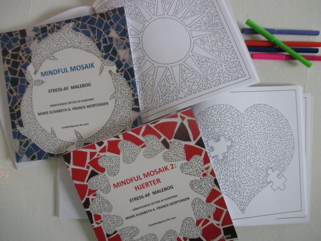 Malebøgerne Mindful Mosaik af Marie Elisabeth A. Franck Mortensen